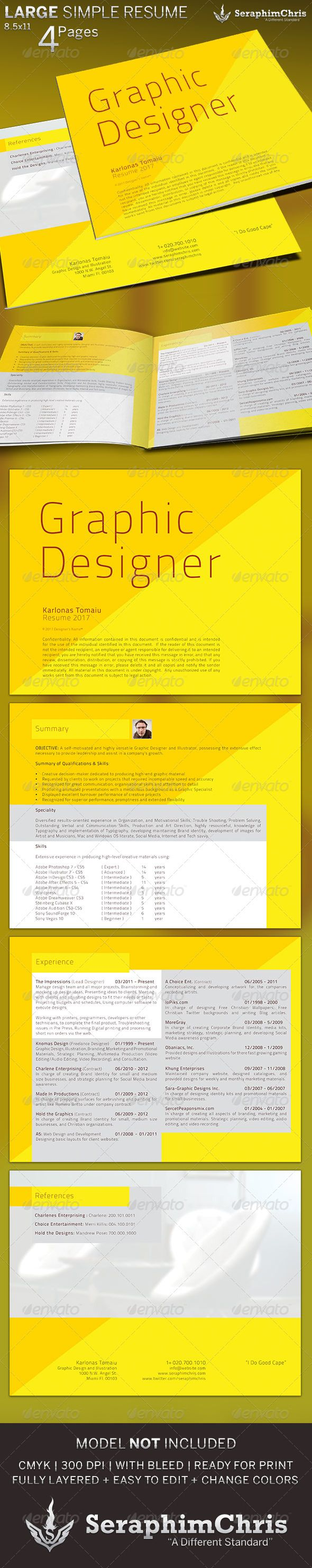 printable resume format%0A Large Simple Resume Template  GraphicRiver This Large Resume Template can  be used for the average