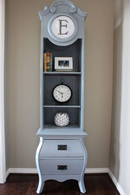 Grandfather clock reporposed as a shelf