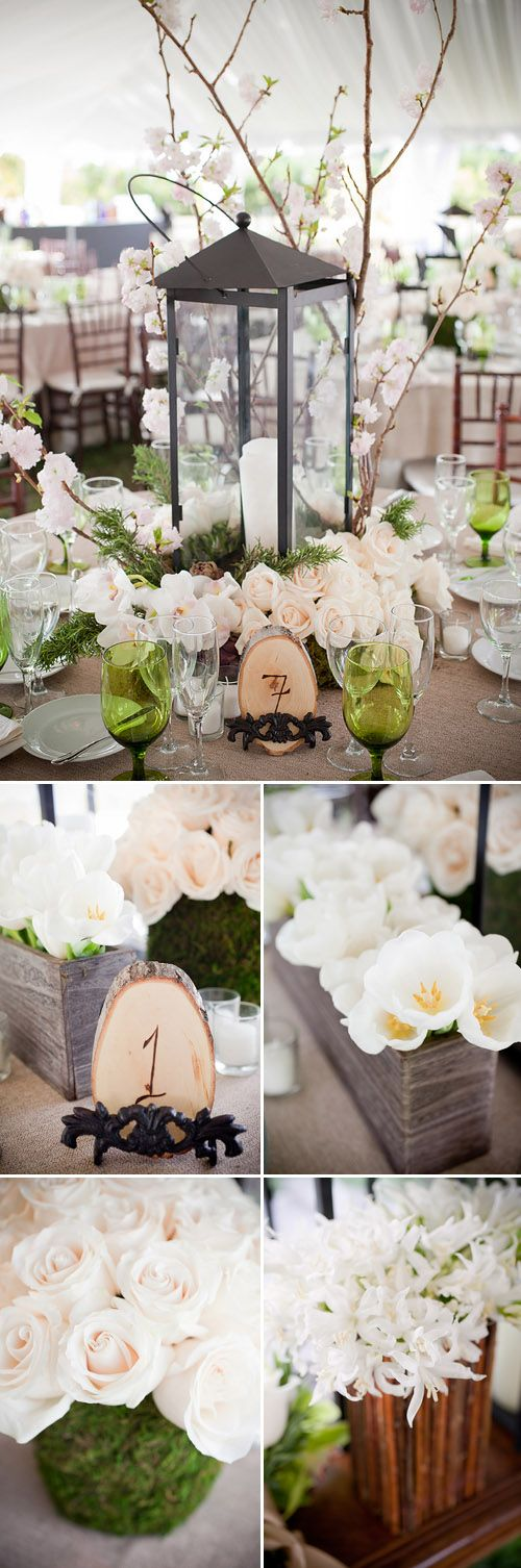 brown, green and cream centerpiece for rustic chic farm wedding in Florida, photos by Captured Photography by Jenny