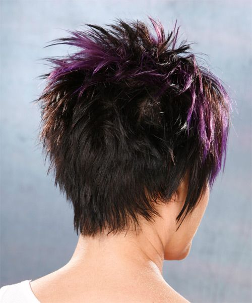 Short Straight Alternative Hairstyle Black Plum Hair