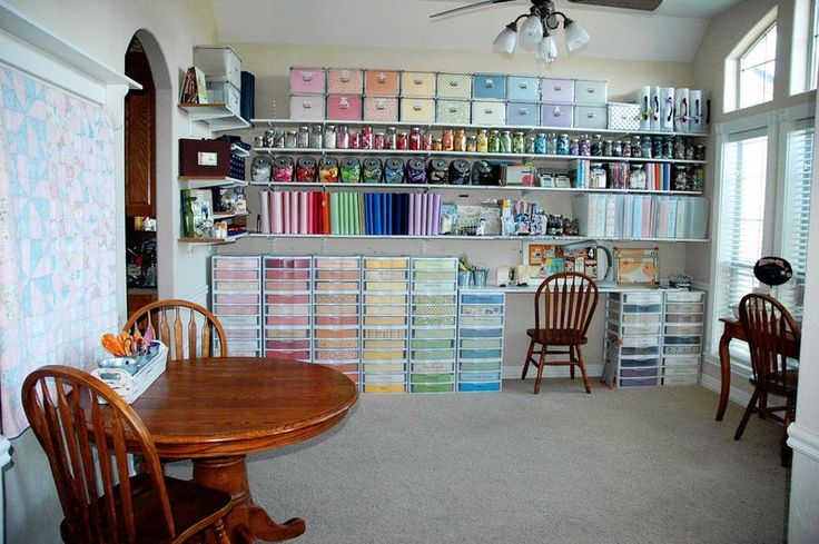 amazing craft storage with very few pieces of actual furniture. Everything is in plain sight but out of sight. So good for temp solutions when you don't want to invest in shelving that might not fit elsewhere!