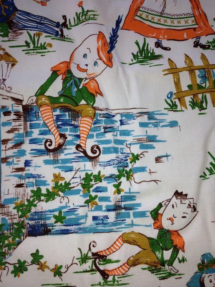 120 best fabulous vintage barkcloth images on pinterest for Retro nursery fabric