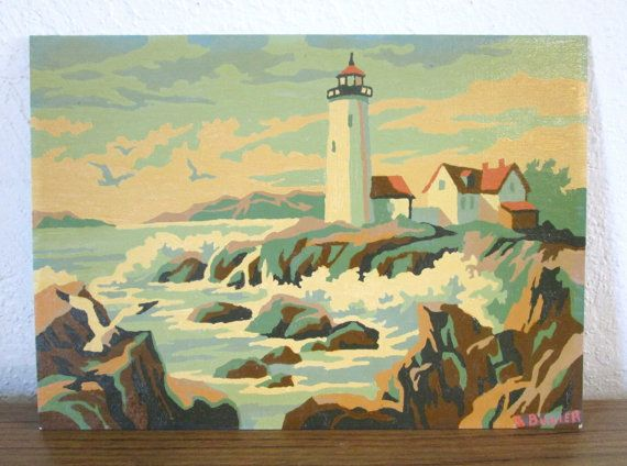 Lighthouse Craft Master Ocean Mid Century Vintage Paint by Number PBN Unframed Painting AtomicPutz.com