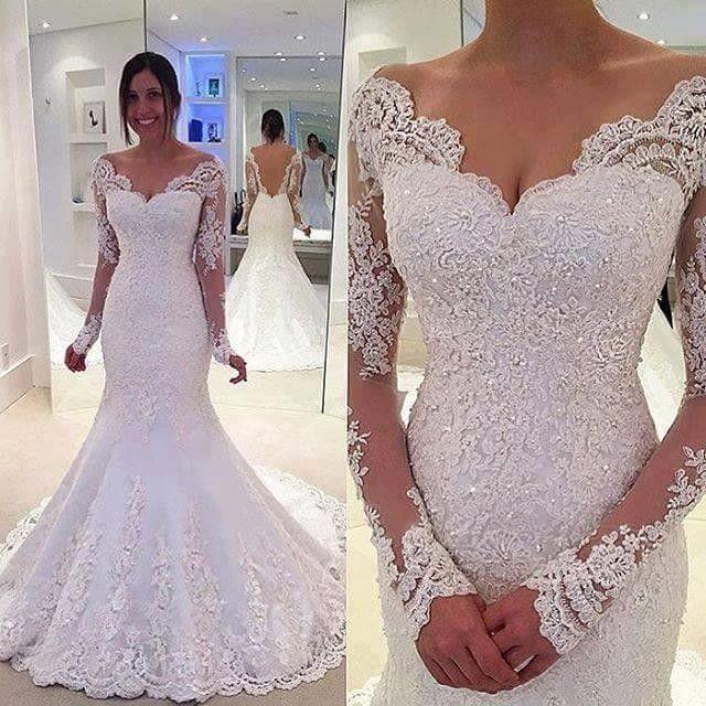 Vestido De Noiva de Renda Vestidos de Casamento 2016 Querida Manga Comprida Botão Trem Da Varredura Applique Backless Moda vestido de Casamento Da Sereia em Vestidos de casamento de Casamentos & Eventos no AliExpress.com | Alibaba Group