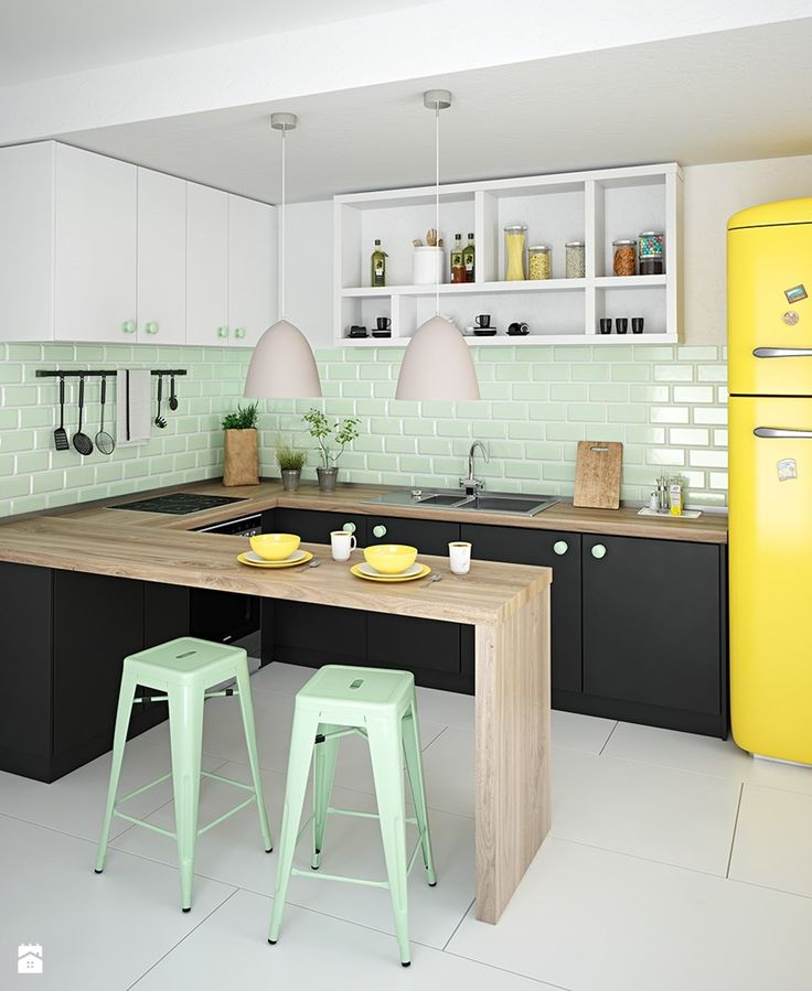 Mała średnia otwarta kuchnia w kształcie litery l w kształcie litery u w aneksie, styl skandynawski - zdjęcie od dkwadrat scandi | colorfull | inspiration | kitchen | design | yellow