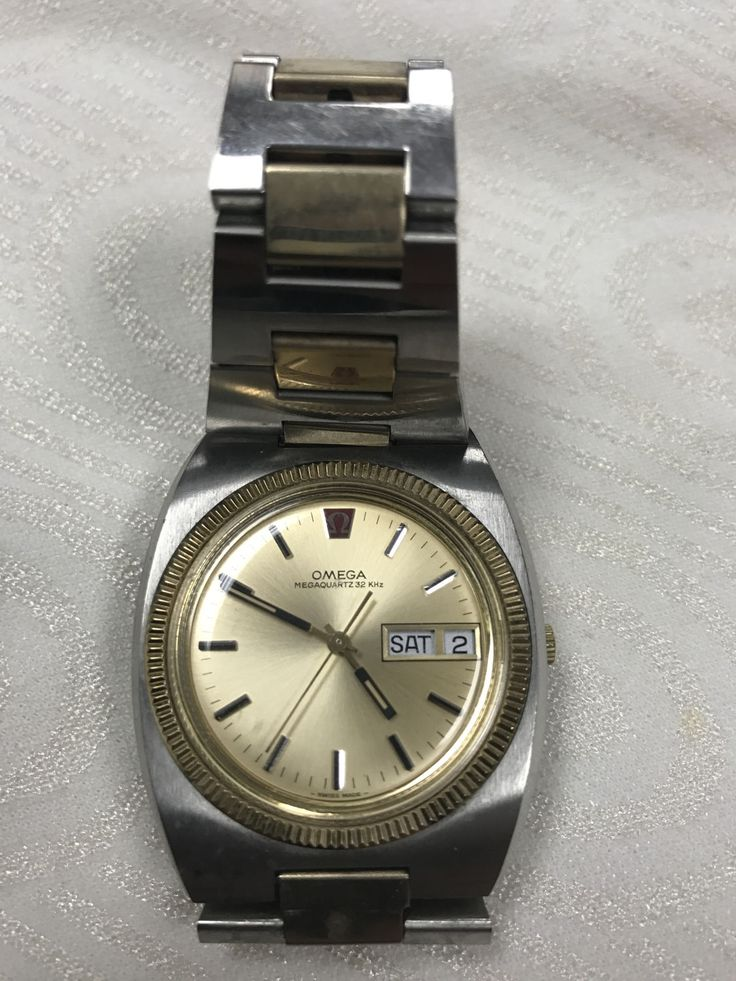 Vintage Late 70's or 1980's Omega Quartz Geneve Watch in Silver Gold Metal Tone by alinagifts on Etsy