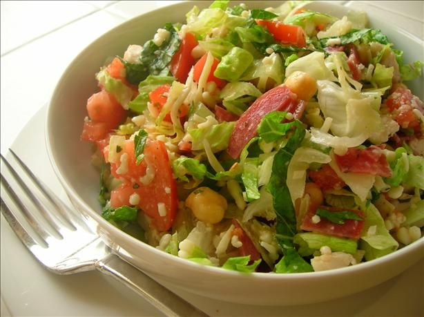 Italian chopped salad. CPK recipe. Awesome so I don't always have to go buy it. The only salad that sounds good right now with how many food aversions I'm having this time.