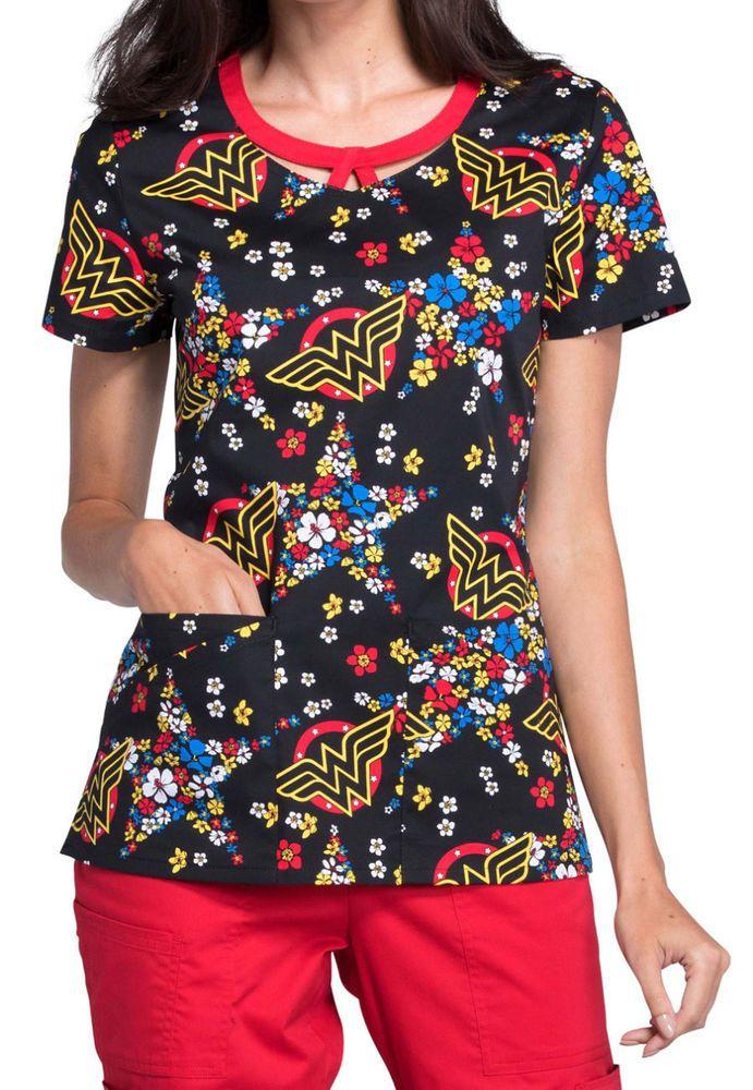 c4b49d06f3c Cherokee Tooniforms Medical Scrubs Wonder Woman Star Flower Top Sz XS-XXL  NWT #CherokeeTooniforms
