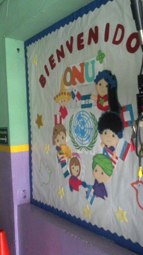 Decoración friso bulletin board dia de la ONU , dia internacional de la paz,