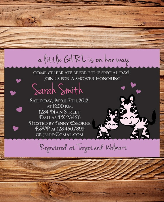 Zebra Baby shower Invitation Girl, Pink, Baby Shower Invite Zebra, Baby Shower Invitation, Digital. $18.00, via Etsy.