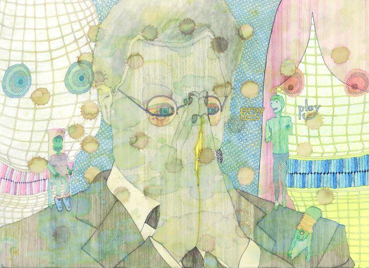 """Praying and Playing"" by Ari Usui. 2009, ballpoint pens."