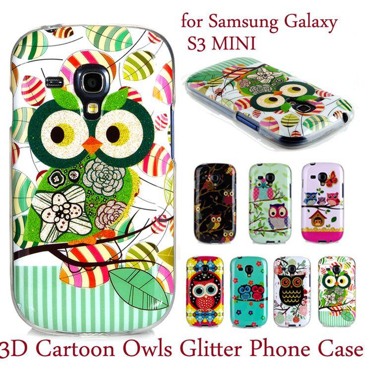3D Cartoon Owls Phone Case sFor Samsung Galaxy S3 mini i8190 iii Glitter Cute Soft Silicone TPU Back Cover For Galaxy S3 mini