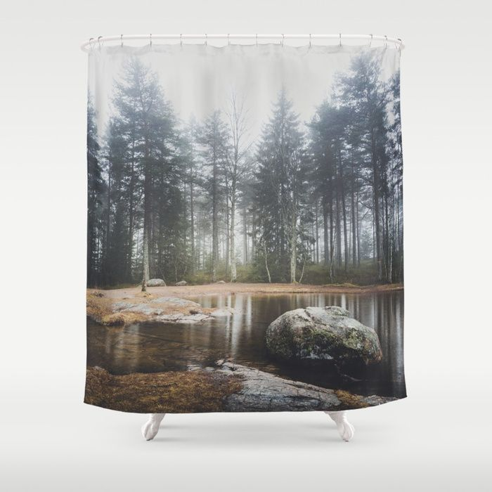 Moody mornings Shower Curtain by HappyMelvin. #nature #wanderlust #landscape #forest #homedecor #showercurtains