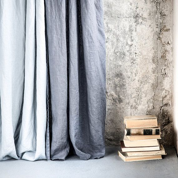 Dark grey/ graphite. Washed linen curtains/ linen drapes in dark grey/graphite