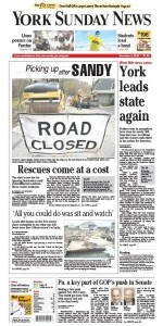 Front page for Nov. 4′s York Sunday News