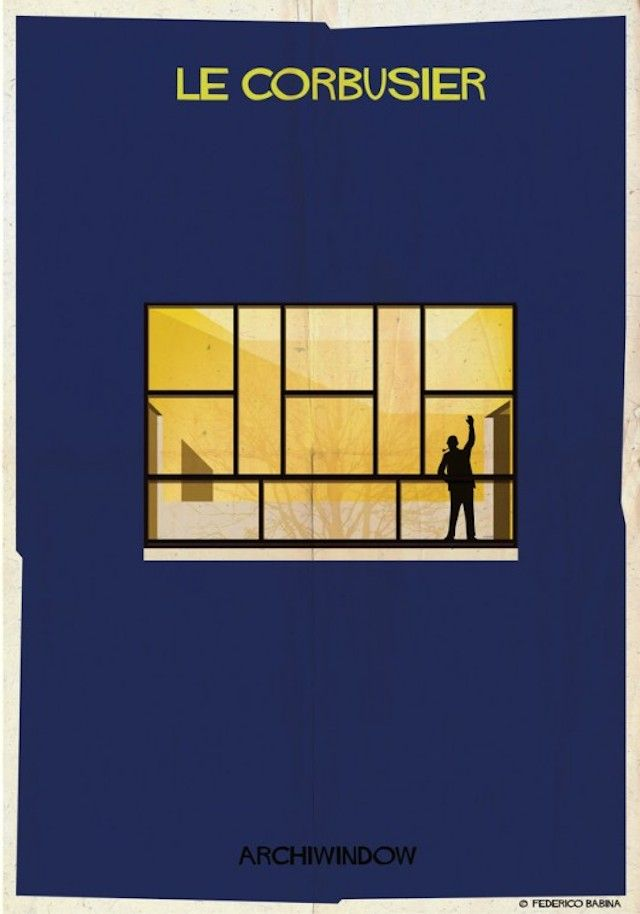 "ARCHITECTURE'S WINDOWS POSTERS -   ""Archi Windows"" is a series by Federico Babina, Italian designer and architect whose we already have talked about many times. Through 25 illustrations and by following the quote ""The windows are the eyes of architecture"", he shows the most famous windows created by the biggest architects. To each architect, there is a window and a signature."