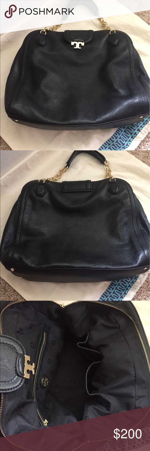 """Tory Burch Sammy Satchel gently used Tory Burch Sammy satchel in black. Comes with dust bag. Measures 11"""" H x 14"""" W x 5 1/2"""" D. Tory Burch Bags Shoulder Bags"""