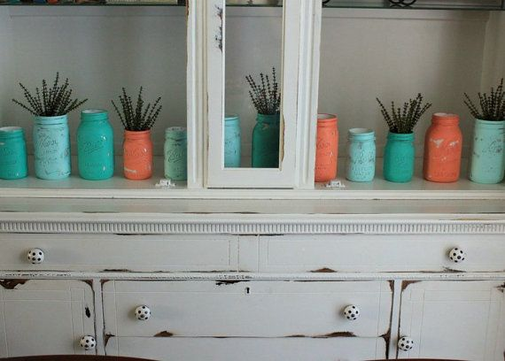 SALE Teal, Turquoise, Aqua, And Coral Painted Mason Jars   Set Of 12   Coral  And Teal Decor   Coral And Turquoise Decor