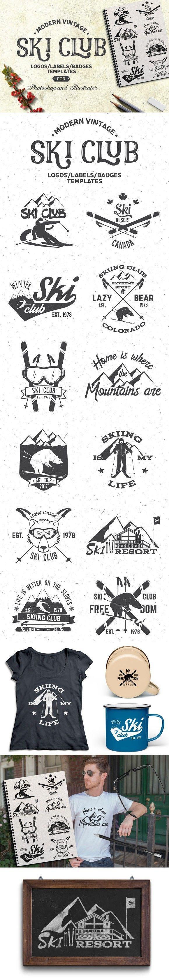 Vintage Ski Club Logos/Labels/Badges. Travel Icons. $8.00