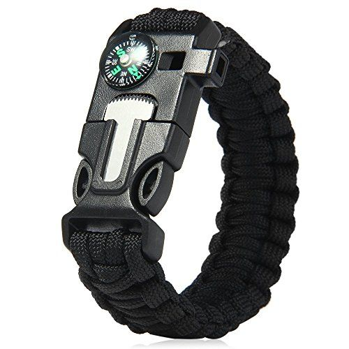 Multifunctional 5in1 Paracord Bracelet Ultimate Outdoor Survival Kits With Compass Flint Fire Starter Scraper Whistle Fishing Gear Flint for Hiking Camping Emergency Black *** Learn more by visiting the image link.Note:It is affiliate link to Amazon.