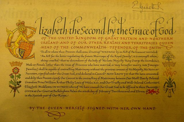 The Queen's formal consent to the marriage of Prince William and Catherine Middleton.