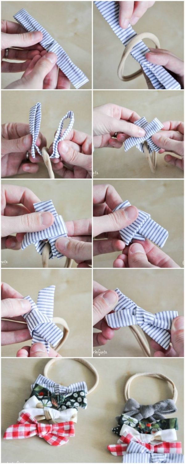 A hair bow tutorial for stitching bows that may be hooked up to a headscarf or hair c…
