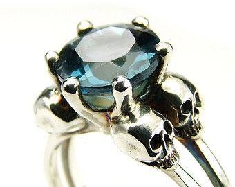 Skull Engagement Ring Diamond Skull Ring Goth by KipkalinkaJewels