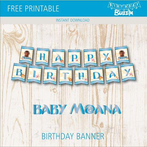 Free Printable Baby Moana Birthday Banner party time Moana
