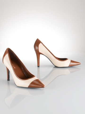These Remind me of Pretty Woman, The Horse Race Scene. #RalphLauren Adley Leather two toned heel.
