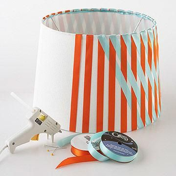 Easy No-Sew Ribbon Projects - Love this lamp shade, esp. if I made it in yellow and grey for our guest room!