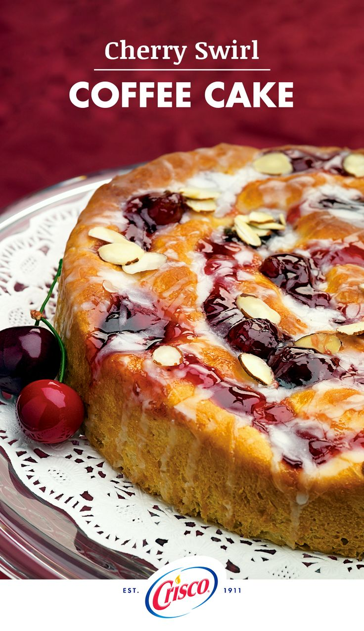 What event do you look forward to each week? Sunday brunch! Our Cherry Swirl Coffee Cake recipe made with our all-vegetable shortening will make your brunch the one to beat. Complete this recipe by mixing powdered sugar with enough milk to make a thin glaze, drizzle over the warm coffee cake and finally, sprinkle with almonds.