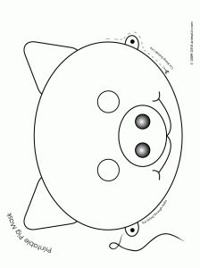 Pig Day printable pig mask coloring 224x300 Printable Animal Masks: Pig Mask  w/ Popsicle Stick and Pink Glitter??