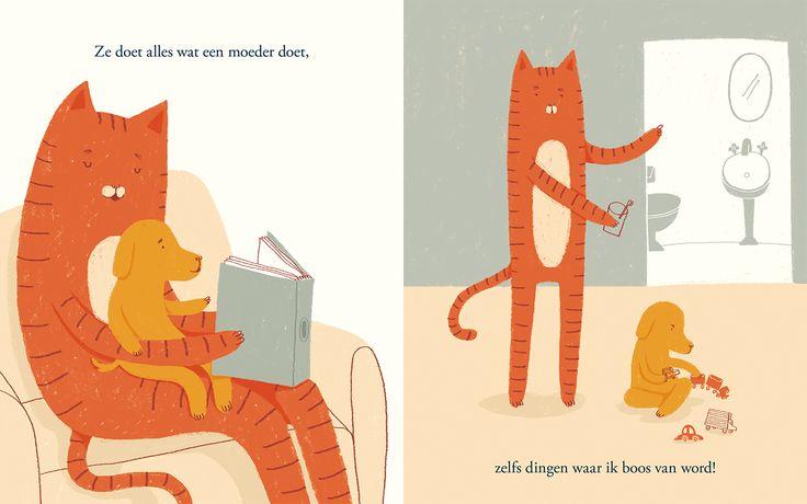 Illustratie uit 'Mijn nieuwe moeder en ik'. Hondje krijgt een kat als pleegmoeder. Ze lijken niet op elkaar, maar vormen toch een echt gezin.
