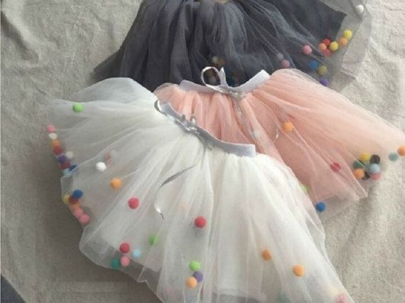 Kids pompom tutu skirt 1yrs  7yrs by Makeyourdaykr on Etsy