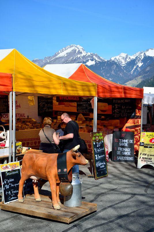 Chatel food market, Haute Savoie, France