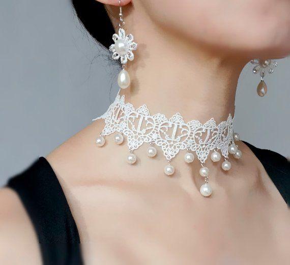 White Lace Pearl Earrings