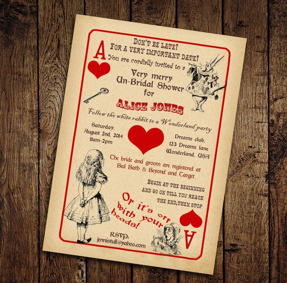 Alice in Wonderland Bridal Shower Invitation - Vintage Playing Card Tea Party -Printable DIY on Etsy, $12.00