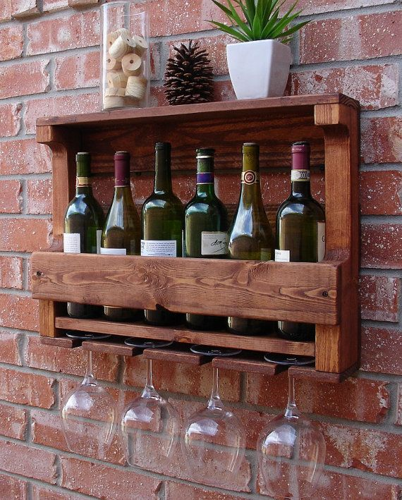 Corvallis Rustic Wall Mount Wine Rack with 4 Glass by KeoDecor, $65.00