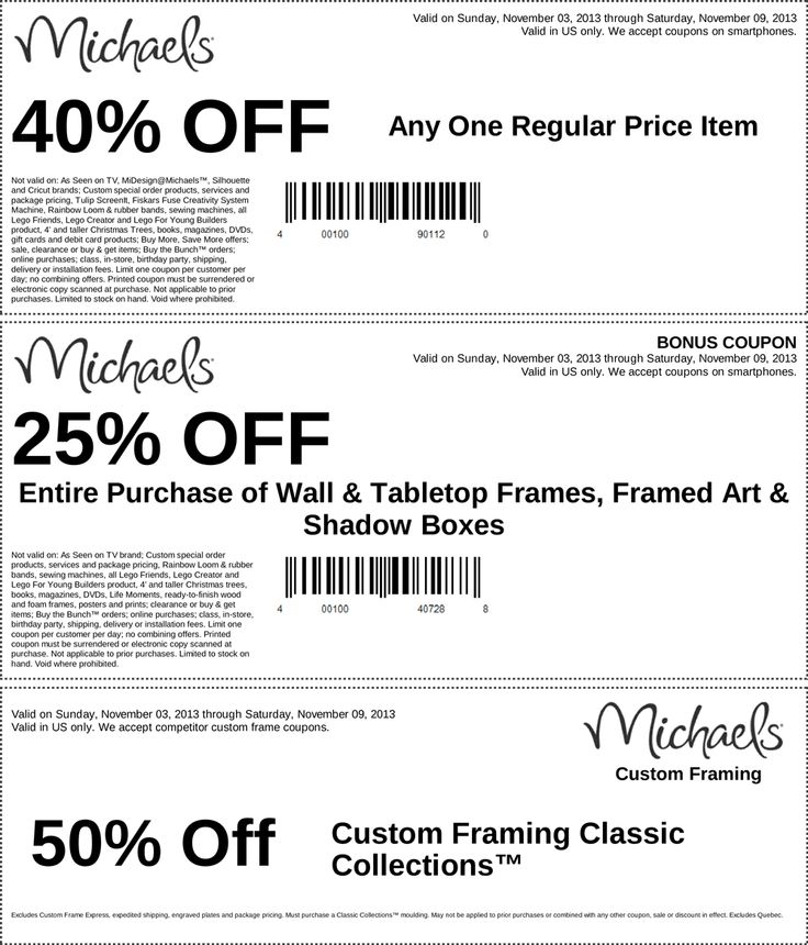 pinned november 3rd 40 off a single item and more at michaels coupon