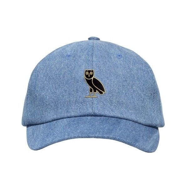 GOLD OWL DENIM SPORTCAP ($48) ❤ liked on Polyvore featuring accessories, hats, head accessories, gold hat, owl hat and denim hat