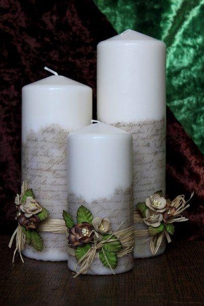 Las 25 mejores ideas sobre velas decoradas en pinterest decorar velas velas de bricolaje y - Velas decoradas para navidad ...