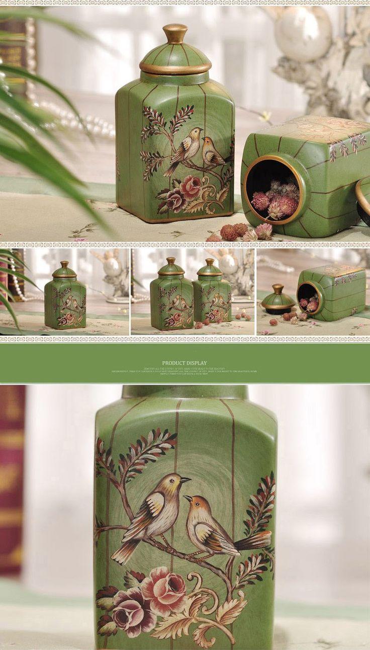 European Style Antique Art bird deign excellent quality small novelty ceramic storage jars set candy/ food storage jar with lid