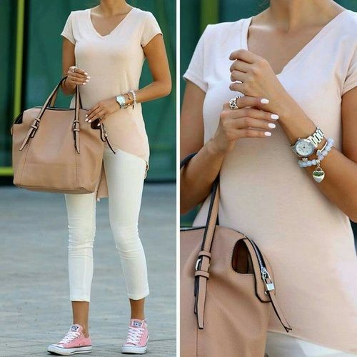 nude top, white pants outfit- Neutral blush and nudes outfit ideas http://www.justtrendygirls.com/neutral-blush-and-nudes-outfit-ideas/