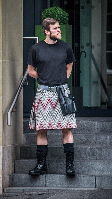 """Doormen are clad in Missoni kilts at the exciting new Hotel Missoni, Edinburgh. """" The 'bold, forthright and dramatic' interiors are decorated in black and white with splashes of intense colour."""""""