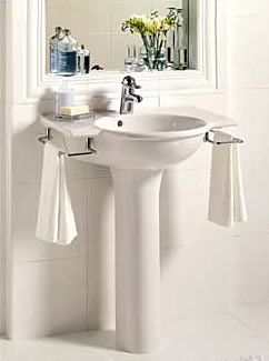 Great Pedestal Sink With Towel Bars  For A Powder Room Or Small Guest Bath Home Design Ideas