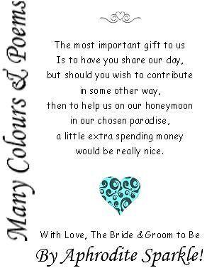50 Wedding Money Poem Cards Heart Design for invitations ask for money/honeymoon | eBay