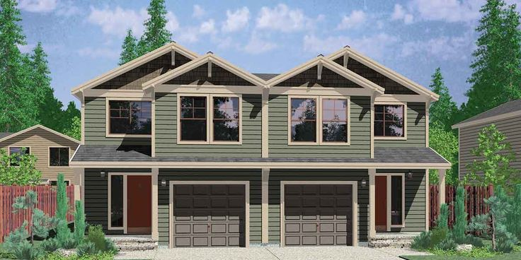D-496 - Housplans.Pro - full service house plans & building design firm Duplex house plans - Craftsman Duplex House Plan - www.houseplans.pro