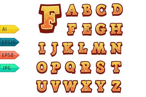 Orange vector stone game alphabet by @Graphicsauthor