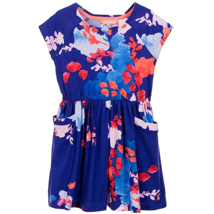 Joules Girls Blue Blossom 'Jude' Dress at Childrensalon.com