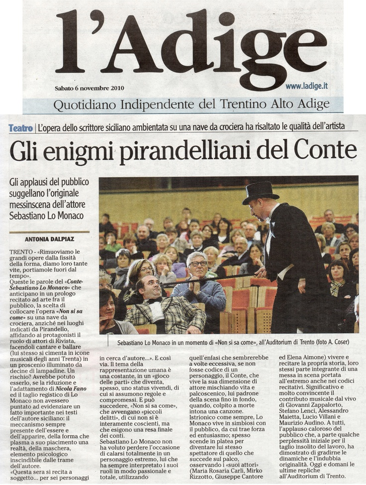 """6 novembre 2010 - L'Adige - Antonia Dalpiaz su """"Non Si Sa Come"""""""
